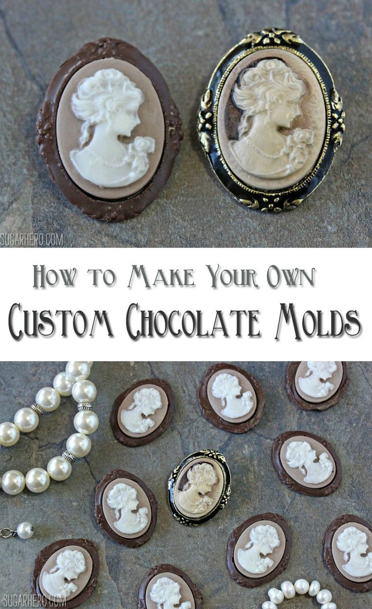 Make your own chocolate molds at home! Make chocolate versions of your favorite jewelry or other special objects. | From SugarHero.com