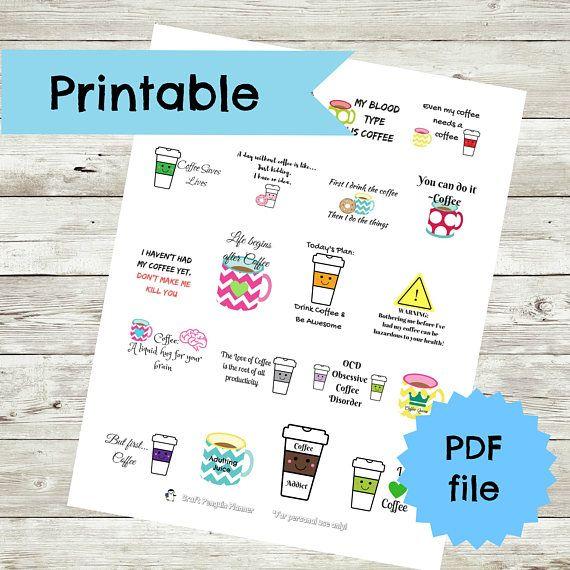 Coffee Stickers Coffee Planner stickers Coffee Printable