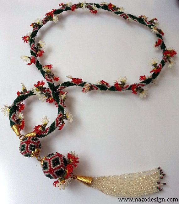 needle lace necklaceBeaded Necklace  Beaded Crochet by NazoDesign, $92.00