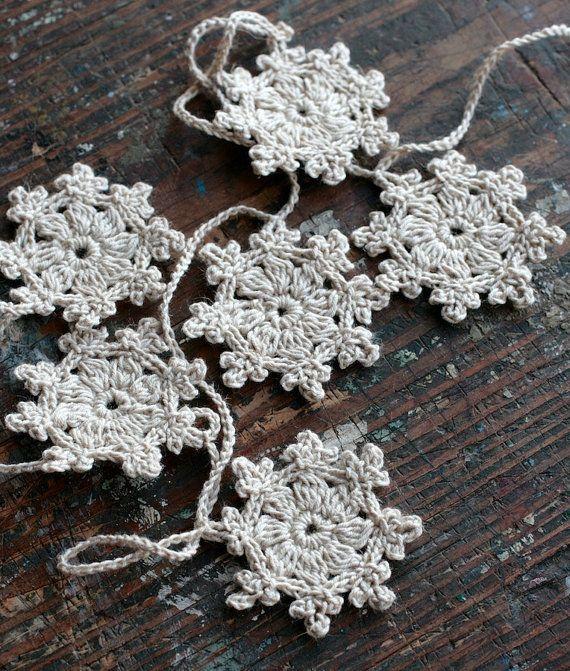 Crochet Garland - Wall Hanging - Small Doily Bunting -- Snowflake garland - beige