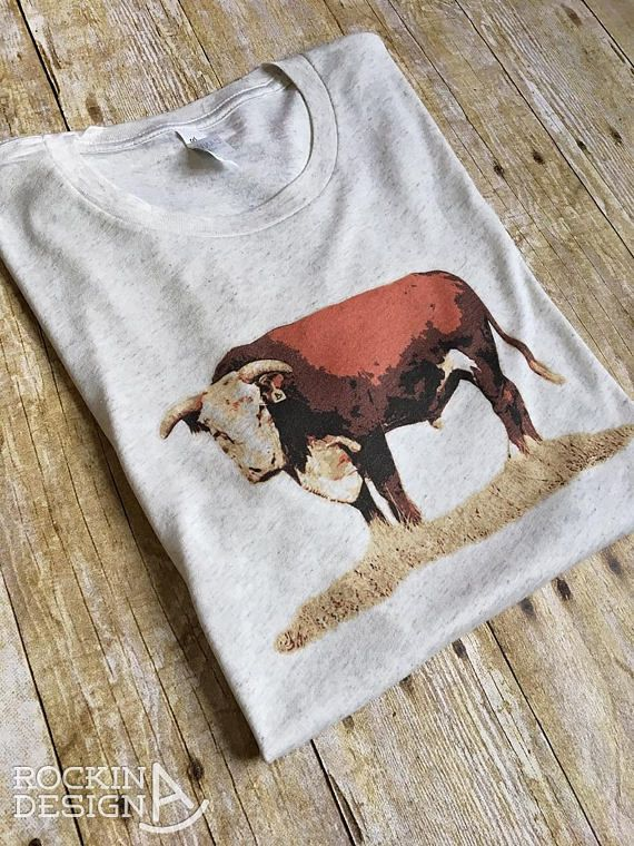 Hereford Bull graphic tee / oatmeal triblend unisex tee / graphic tee, western, Rockin A Design, tee, t shirt, cowboy, cowgirl, ranch, bull, hereford bull, cattle, cow, rancher