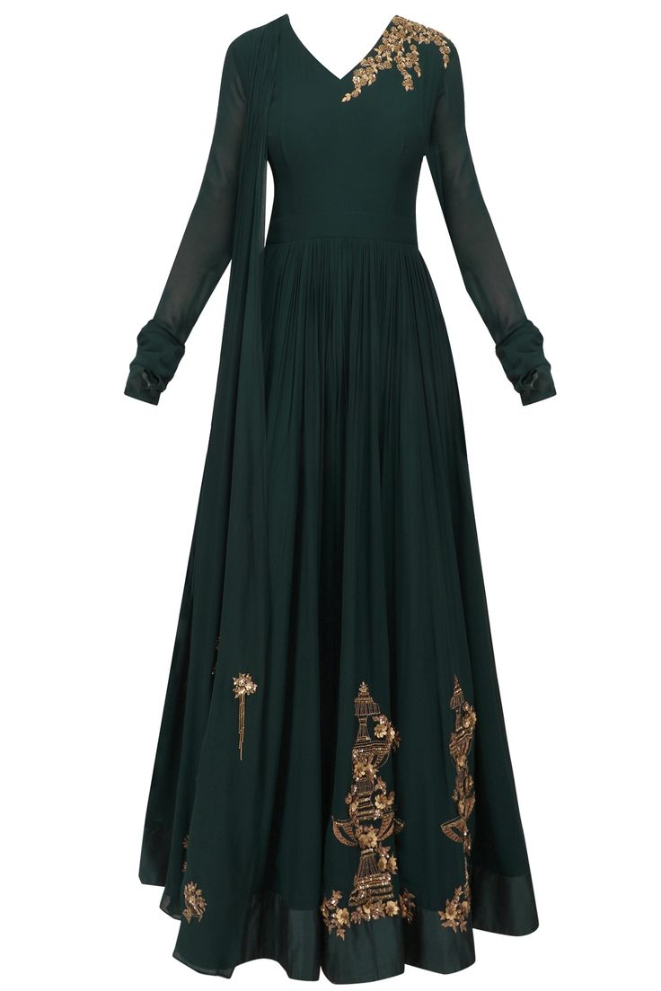 Dark green floral embroidered anarkali set available only at Pernia's Pop Up Shop.