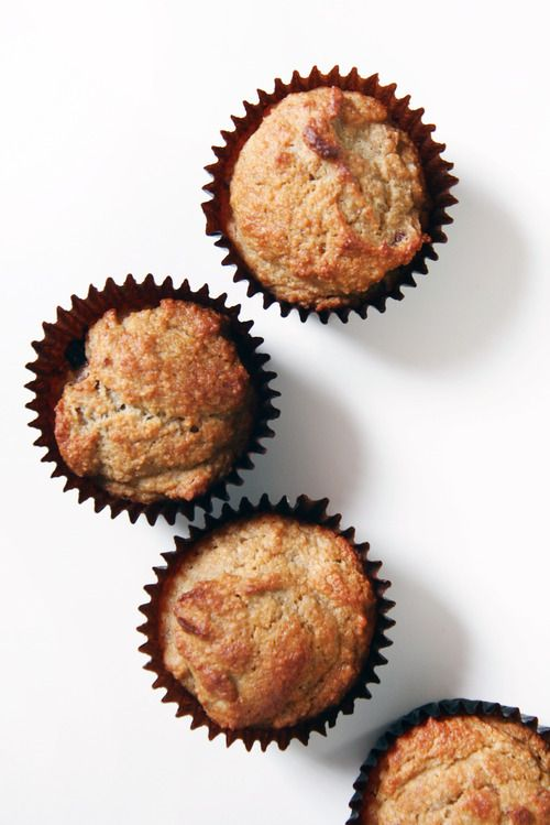 Healthy Banana Date Muffins ** Makes 6 muffins //Cook: 35-45 minutes // 2 small bananas (or 1 ½ large ones), 8-10 mejdool Dates (pitted), 1 egg, 1 tbsp. coconut oil, 1 tbsp. maple syrup, 1 cup almond flour, ½ tsp. cinnamon, ½ tsp. baking soda, ½ tsp. salt.