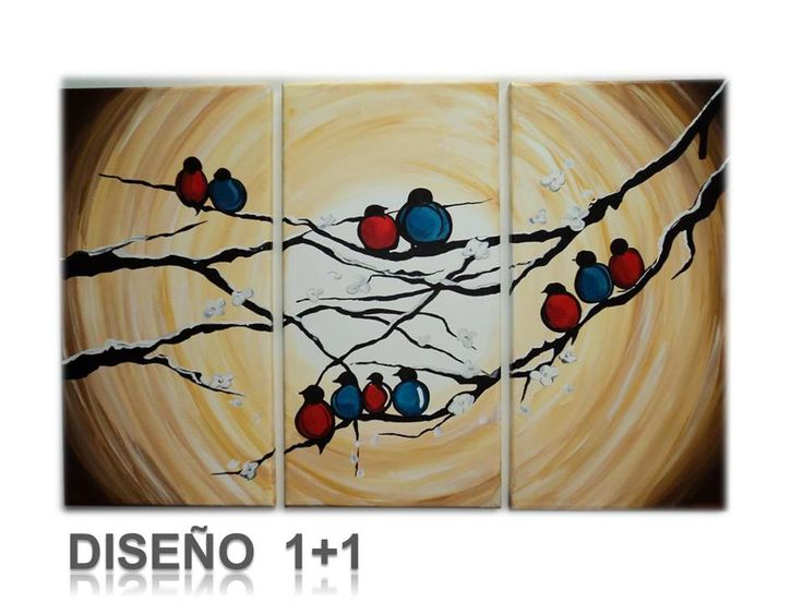 Cuadro pajaros pintado a mano con acr lico sobre lienzo - Acrilico sobre lienzo ...