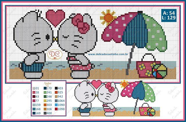 Gráfico Ponto Cruz Hello Kitty com Daniel