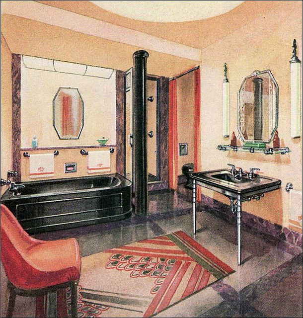 214 best 20s 30s 40s bathroom images on pinterest bathroom bathrooms and 1930s bathroom. Black Bedroom Furniture Sets. Home Design Ideas