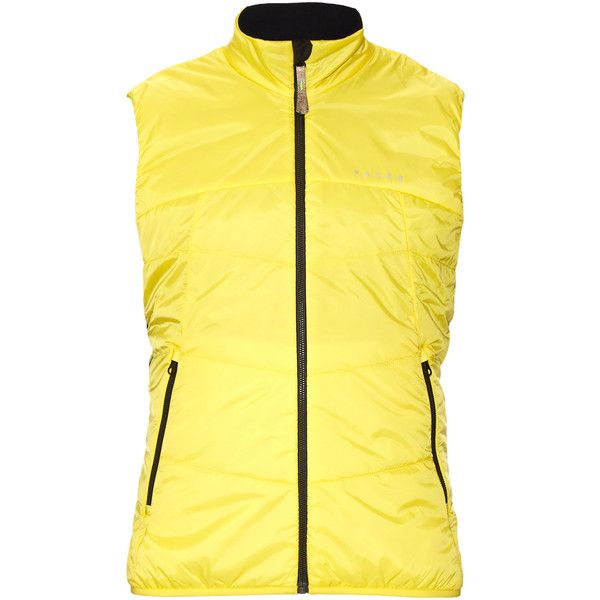 Falke Quilted performance running vest (120 CAD) ❤ liked on Polyvore featuring men's fashion, men's clothing, men's outerwear, men's vests, yellow, mens vest outerwear, mens lightweight vest, mens quilted vest, mens holiday vests and mens vest