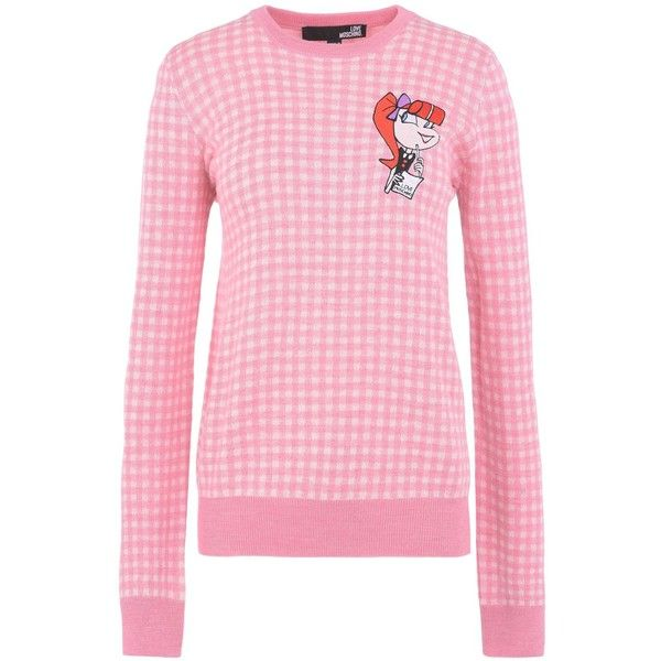 Love Moschino Long Sleeve Jumper (5,785 EGP) ❤ liked on Polyvore featuring tops, sweaters, pink, long sleeve sweater, lightweight sweaters, pink long sleeve top, logo sweaters and long sleeve tops