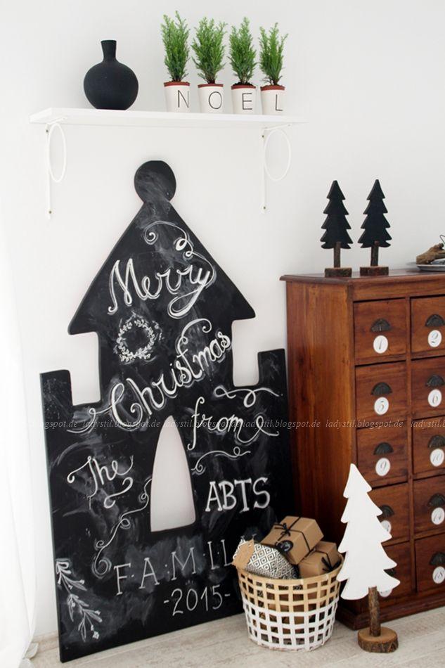 DIY zu Weihnachten Upcycling Chalkboard Haus Handlettering Tafellack 1001 Nacht