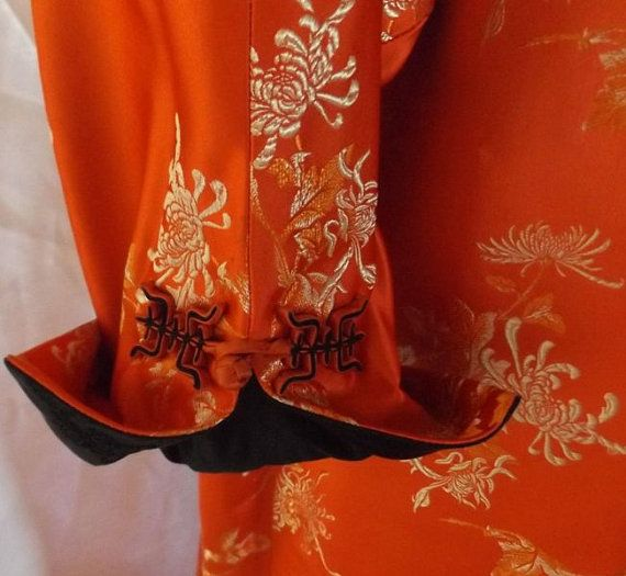 Vintage Red Satin Brocade Robe - Asian Duster Reverses to Black - One Size Fits Most  - Asian Character Buttons - Stunning Unisex Kimono