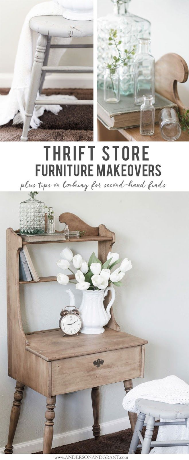 See a thrift store desk and stool transformed into stylish farmhouse decor, plus get tips on finding the best items second hand!