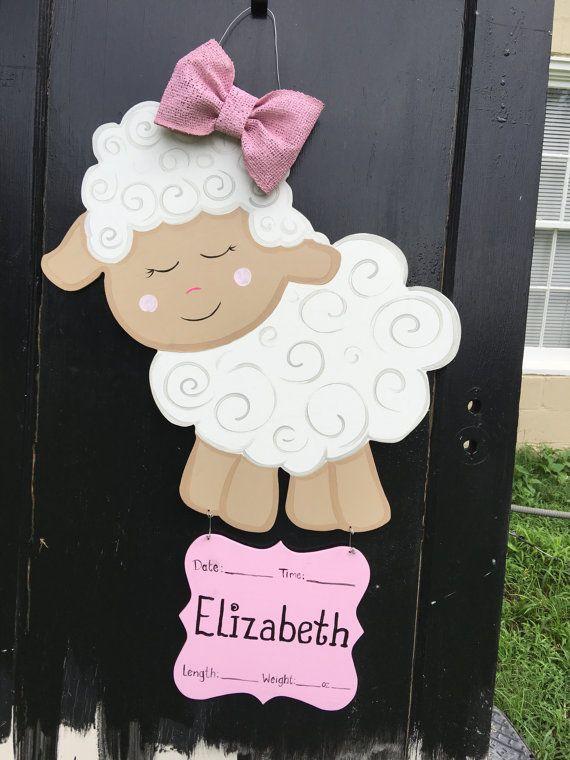 Lamb baby hospital door hanger, Its a Girl,hospital wreath, personalized baby…