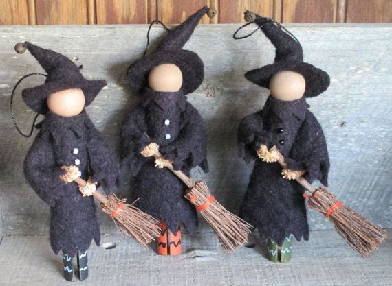 Witch Ornament Whimsical Halloween by ModerationCorner on Etsy
