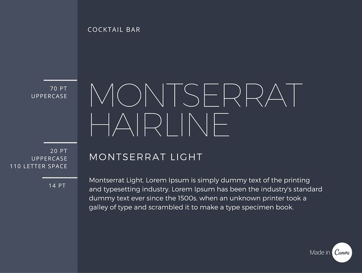 25. Cocktail Bar. Montserrat Hairline + Montserrat Light. Contemporary and cool, fine weight heading, heavy subheader and body. Make sure background is contrast enough to read.
