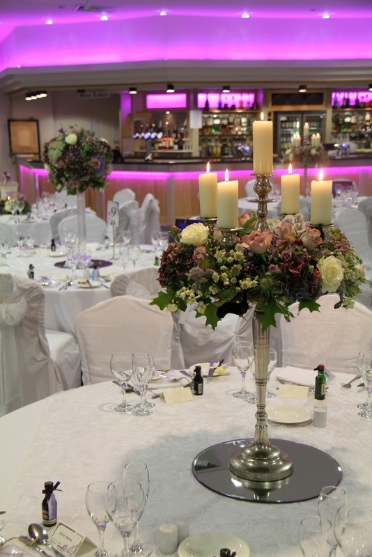 Flower Design Events:  Autumn Purple Baroque Style Candelabra for a Wedding in The Woodland's Suite at Ribby Hall