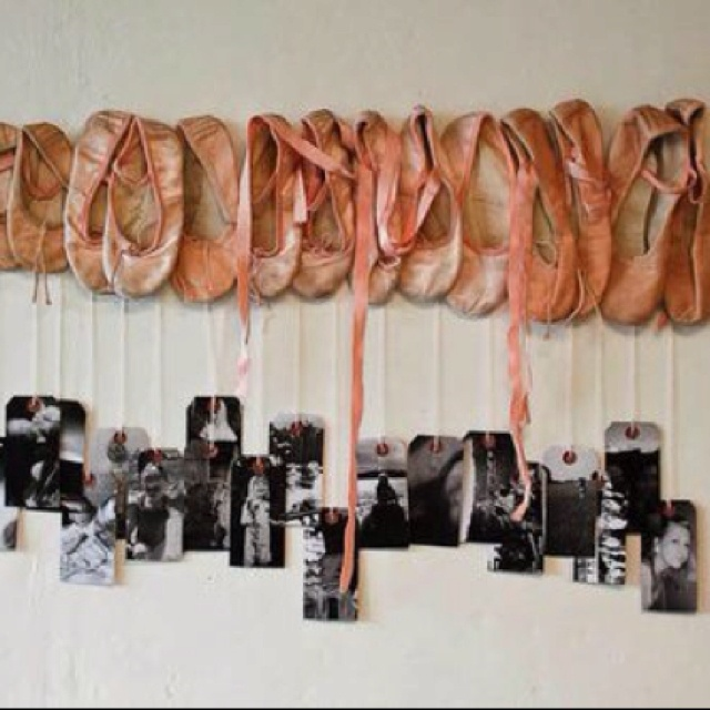 Neat idea. A photo and ballet shoe from each recital.  Now I wish I hadn't given away B's first ballet shoes!!