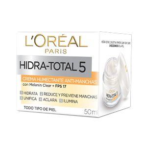 Hidra-Total 5 Anti-manchas, una crema hidratante con Melanin Clear que cubre 5 principales necesidades para una piel radiante.