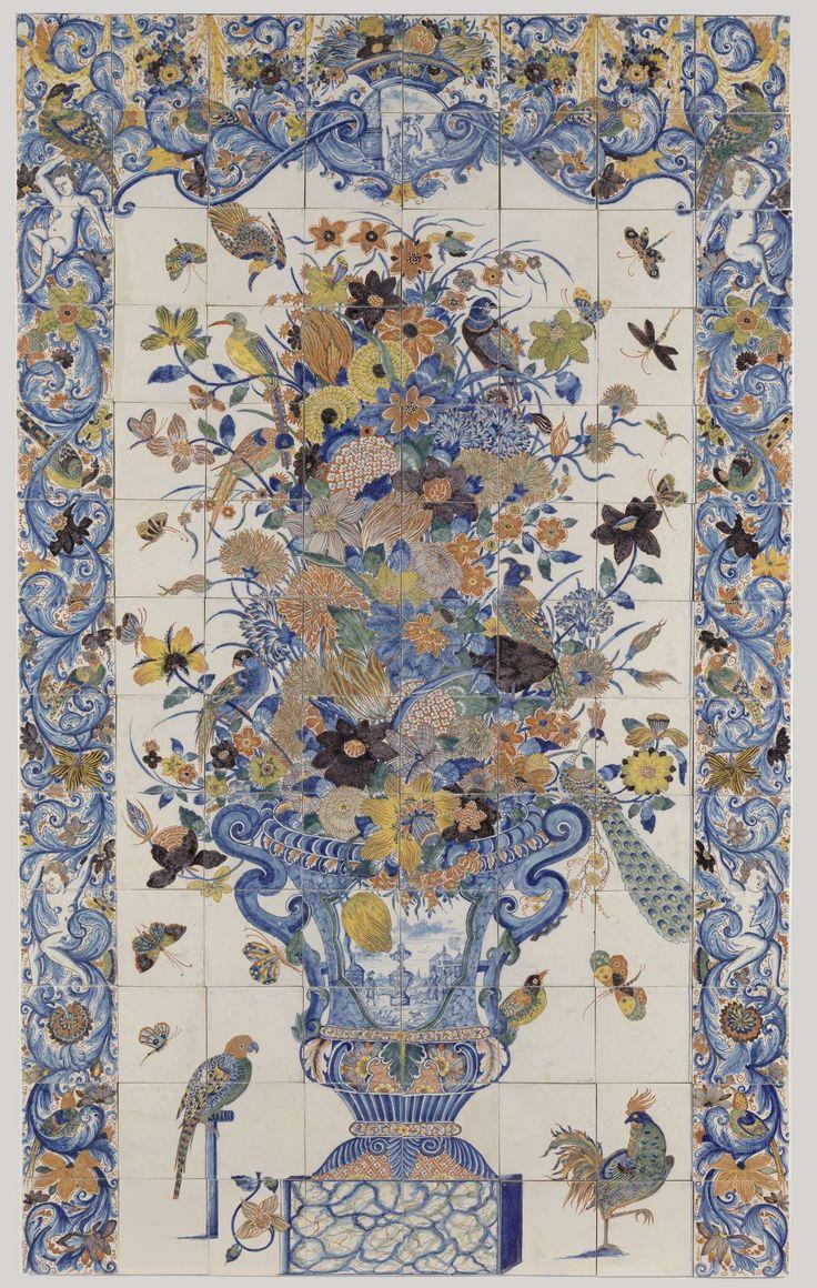 Via rijksmuseum studio op poster of canvas te drukken in kleiner formaat dus. Tegeltableau met een bloemenvaas, anoniem, ca. 1690 - ca. 1750