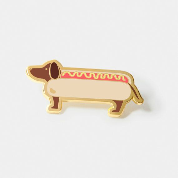 Literally a Hotdog Lapel Hat Pin - Hard enamel hotdog pin, perfectly finished with gold plating - Measurement: 1.85cm (H) x 4cm (W) - 2x Butterfly clutch