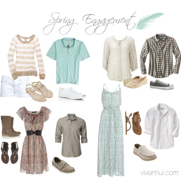 Spring outfit ideas with pastel colors of pale turquoise and tan brown.