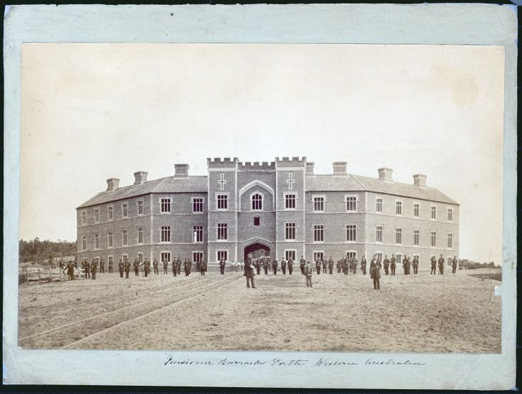 303442PD: Soldiers in formation in front of the Pensioner Barracks, Perth, c1863. http://encore.slwa.wa.gov.au/iii/encore/record/C__Rb2393679__SPensioner%20Barracks%2C%20Perth%2C%20Western%20Australia__Orightresult__U__X6?lang=eng&suite=def