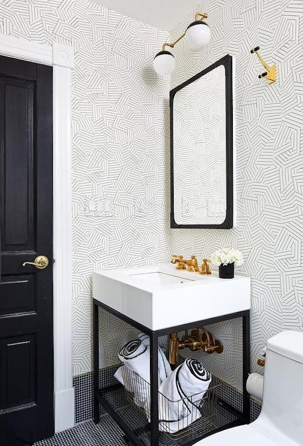 Beach House Renovation Bathroom Wallpaper Options Striped