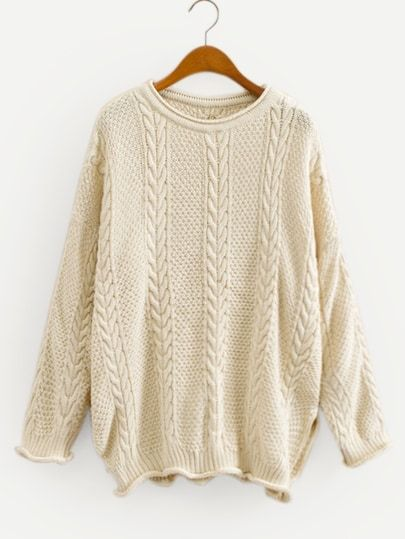 Shop Rolled Edge Knit Drop Shoulder Solid Sweater online. SheIn offers  Rolled Edge Knit Drop 948a813bb5