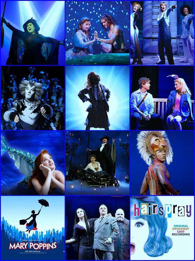 Wicked, Tarzan, Cats, Matilda, Legally Blonde, The Little Mermaid, The Phantom of the Opera, The Lion King, Mary Poppins, The Addams Family, Hairspray