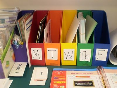 "Daily bins for organization...could use this at home. The site has cuter printable ""day of the week"" labels, including ""next week""."
