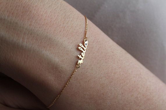 Tiny Name Bracelet Gold Name Bracelet Birthstone by capucinne, $253.00 - price is dumb but would be cute for Lucy and Mila