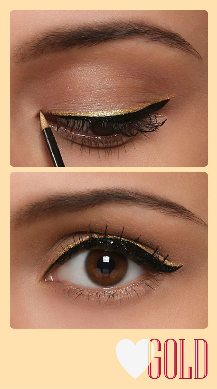 Gold layered over black winged eyeliner. Cute to try for a formal occasion...