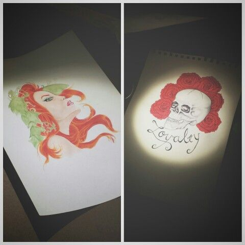 Watercolor watercolour skull and poison ivy by Madeleine Hoffman