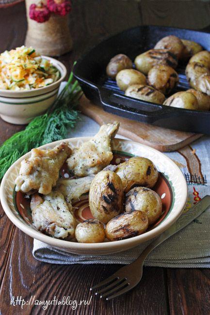Картофель на сковороде-гриль. #potato, #food, #recipes, #grilled