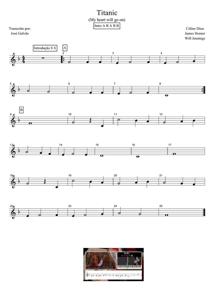Titanic - My heart will go on - Partitura para flauta                                                                                                                                                                                 Mais