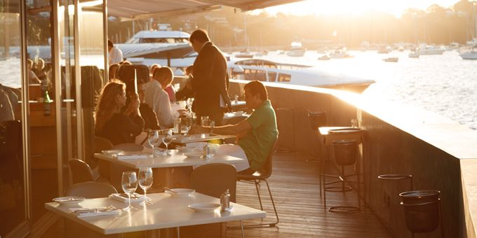 Al fresco dining in the afternoon sun at Catalina Restaurant Rose Bay