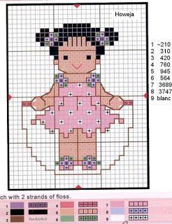 Ricami, lavori e centinaia di schemi a punto croce di tutti i tipi, gratis: Cross stich- punto croce facile, le bamboline rosa