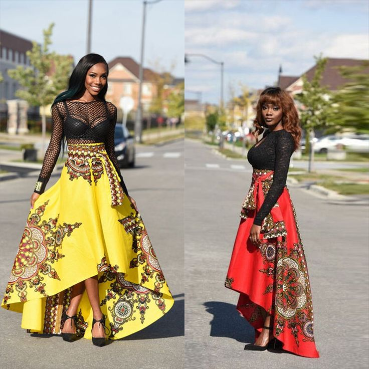 New African Women Printed Summer Boho Long Dress Beach Evening Party Maxi Skirt  | eBay