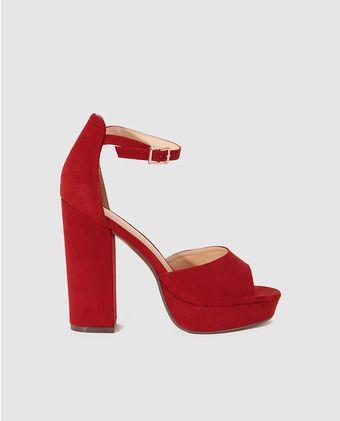 Sandalias de tacón de mujer Fórmula Joven rojas con plataforma