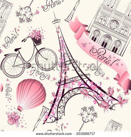 Paris symbols seamless pattern. Romantic travel in Paris. Vector  - stock vector  id 203986717