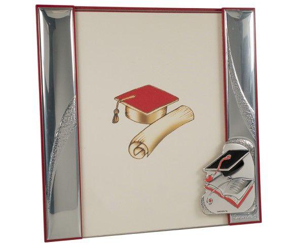 39,30 € - Portafoto con placca laurea, realizzato in argento laminato, fantastica idea regalo per laurea, cm. 20x20.