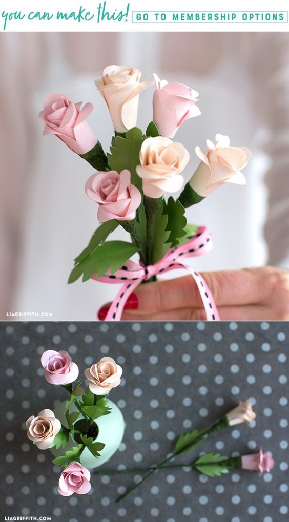 Learn how to make a bouquet of simple spiral paper roses - Lia Griffith - www.liagriffith.com #paper #paperart #paperroses #paperflower #paperflowers #diyvalentines #diyvalentinesday #valentines #diyidea #diyideas #diyinspiration #madewithlia