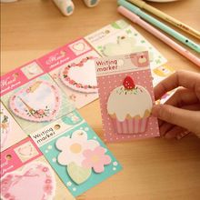 3 unids/lote kawaii corazón de la flor de papel pegajoso , notas post it bloc de notas papelería papeleria útiles escolares(China (Mainland))