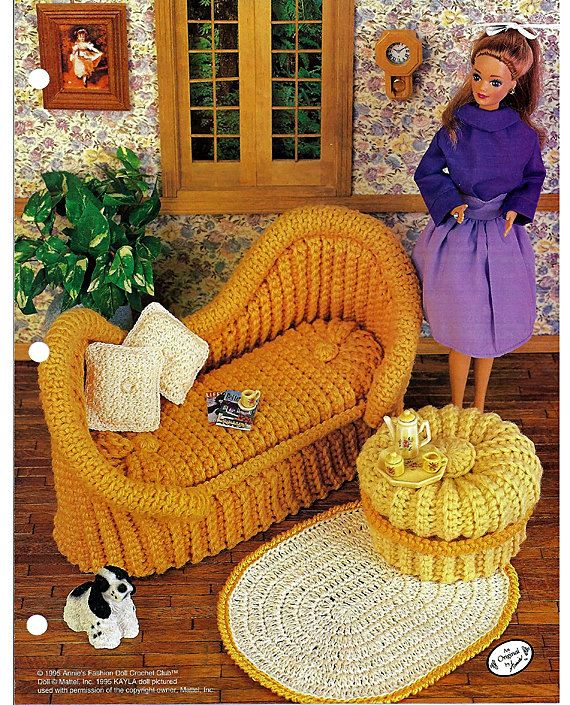 French Settee Crochet Pattern Annies Fashion Doll Crochet Club FC0102