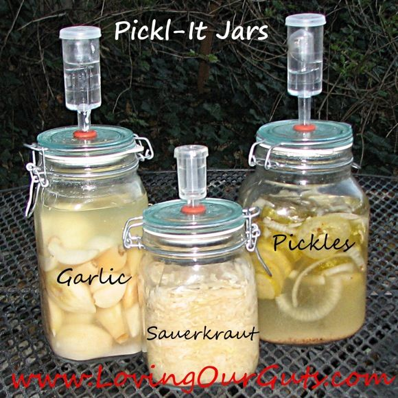 """Recently I decided to try fermenting in dedicated fermenting vessels with a controlled oxygen-free environment. Why? My family had been on the GAPS diet for 2-1/2 years and still had healing to do. My 4-year old was reacting to the fermented foods I made in mason jars and the fermented foods purchased from the store. So I was hopeful that new fermenting containers would make a difference for her — and for all of us."" http://gnowfglins.com/2012/11/14/fermenting-in-pickl-it-jars/#"