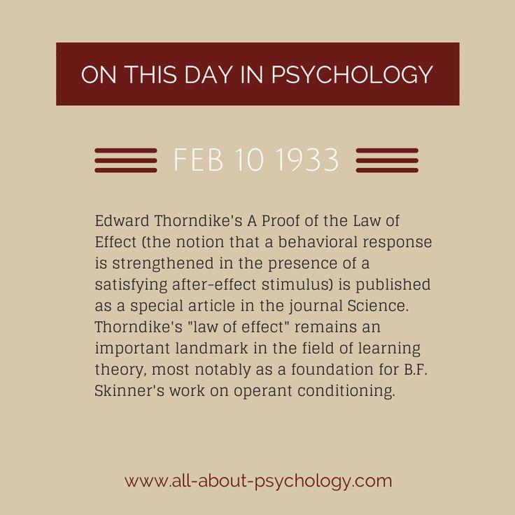 10th February 1933. Edward Thorndike's landmark article on the law of effect is published in the journal science. #EdwardThorndike #LawOfEffct #LearningTheory #InstrumentalLearning #OperantConditioning #BFSkinner  #psychology