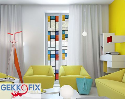 Self adhesive window foil Mondriaan. Get inspired & get creative. Gekkofix