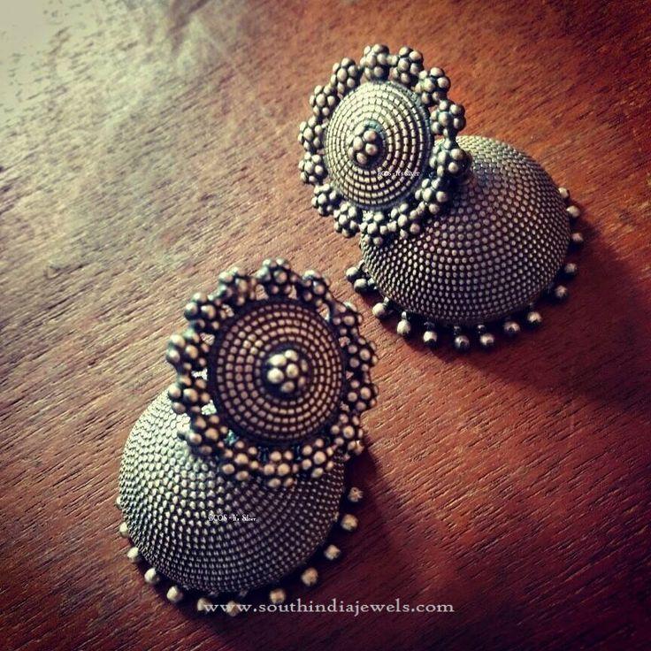 Big Silver Jhumka, Antique Silver Jhumka Designs, Pure Silver Jhumka Designs.