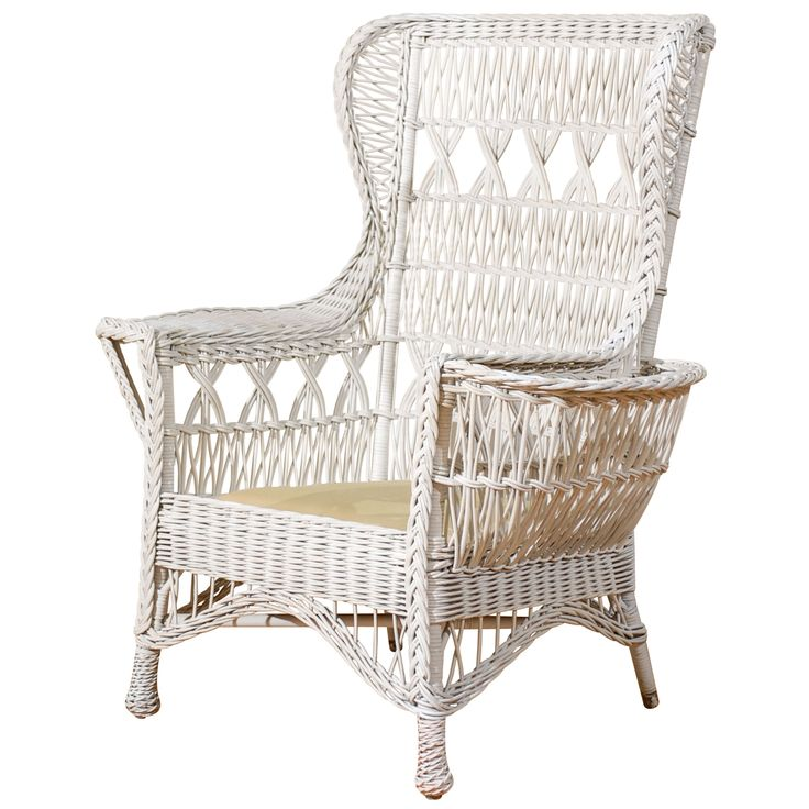 Antique American Wicker Wing Chair with Magazine Pocket