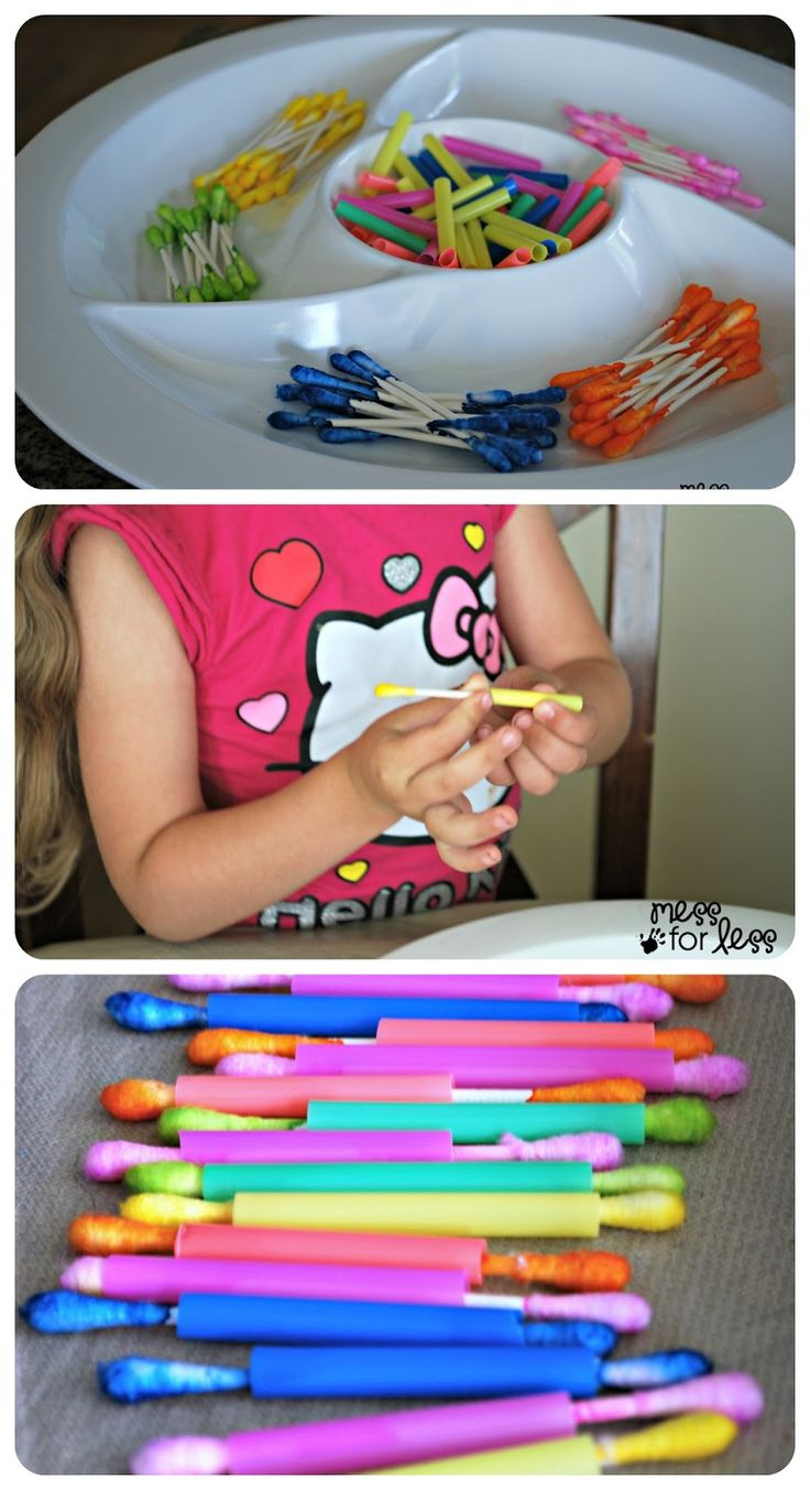 Q-Tips and Straws Fine Motor Skills Activity - A great way to help little hands strengthen fine motor skills and work on colors at the same time.