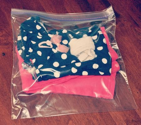 Traveling with baby: Love the idea of packing outfits in ziplocks. No digging around the suitcase to find the top, leggings, bow, etc and ziplocks can be flattened to save space.